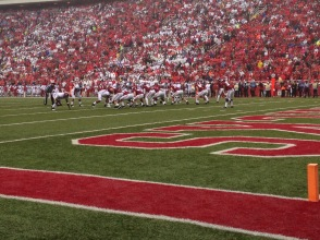 First play of the game against Arkansas; both teams are ready to play.