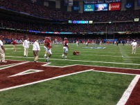 Alabama players prepare to take the field against Ohio State in the inaugural College Football Playoff, less than 2 hours till kickoff.